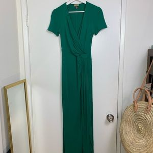 Issa emerald green silk jersey draped front gown